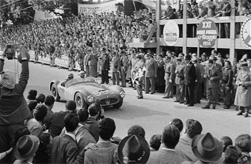 Luigi Musso behind the wheel of the A6GCS at the 1954 Mille Miglia where he finished 2nd in class and 3rd overall (Credit – Courtesy of The Revs Institute for Automotive Research) Monerey Sale