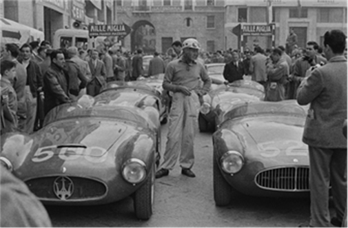 Luigi Musso with chassis number 2078 prior to the start of the 1954 Mille Miglia (Credit – Courtesy of The Revs Institute for Automotive Research) Monterey Sale