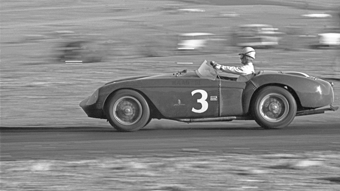 Pat O'Connor behind the wheel of 0448 MD at Willow Springs in March of 1956 (Courtesy of Allen R. Kuhn) RM Sotheby's Villa Erba sale [678]