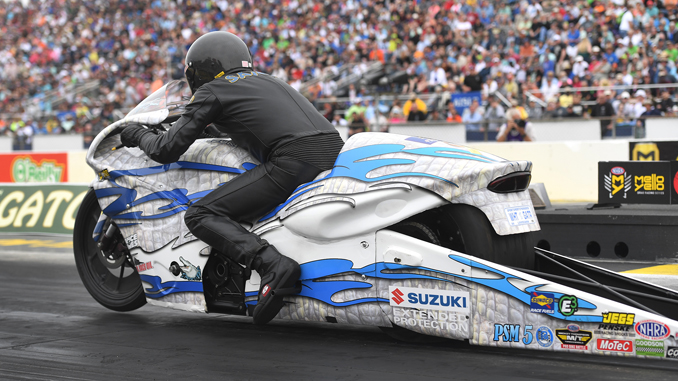 Pro Stock Motorcycle - Jerry Savoie - NGK Spark Plugs NHRA Four-Wide Nationals action