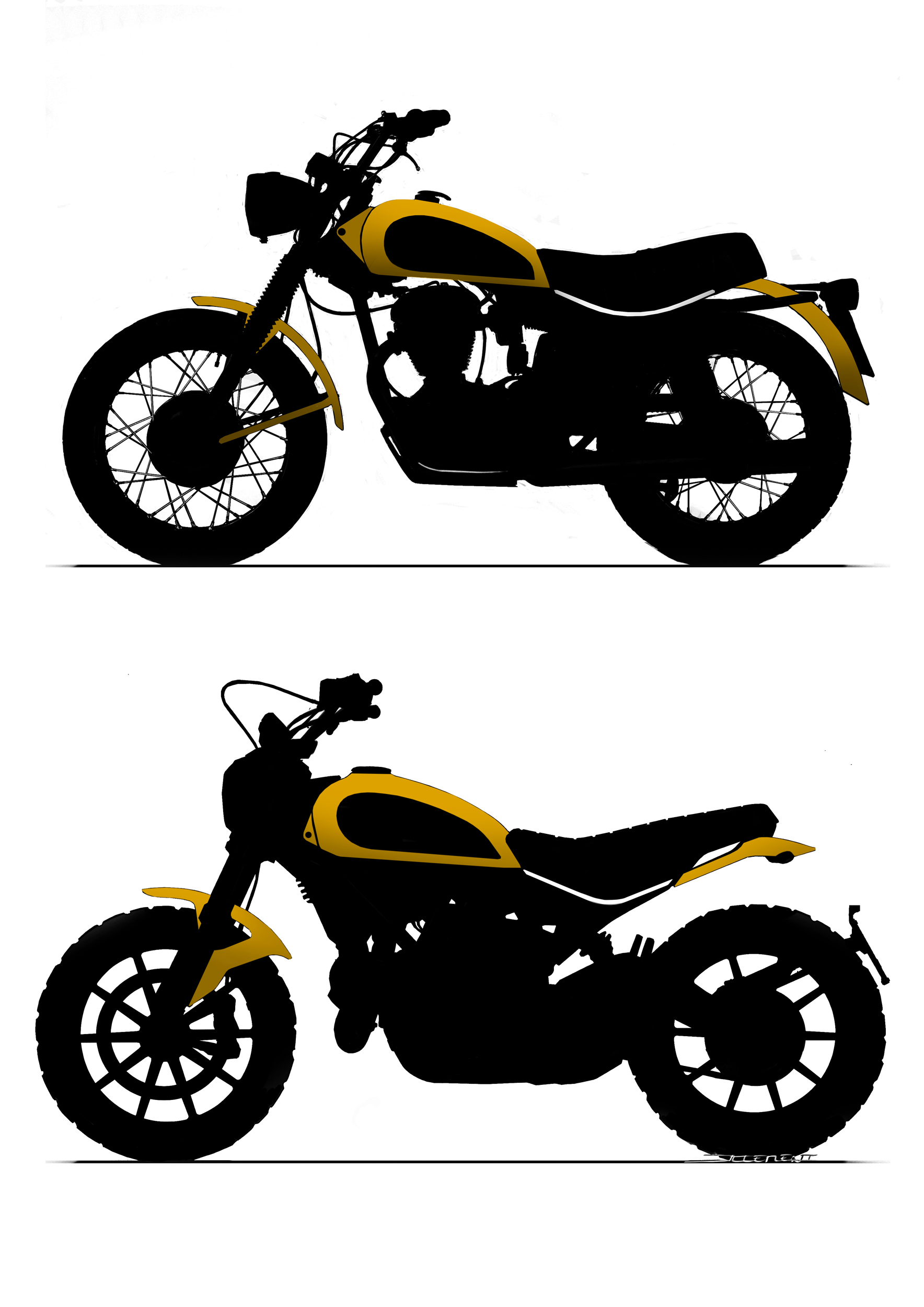 Scrambler Sketches Iconic Elements