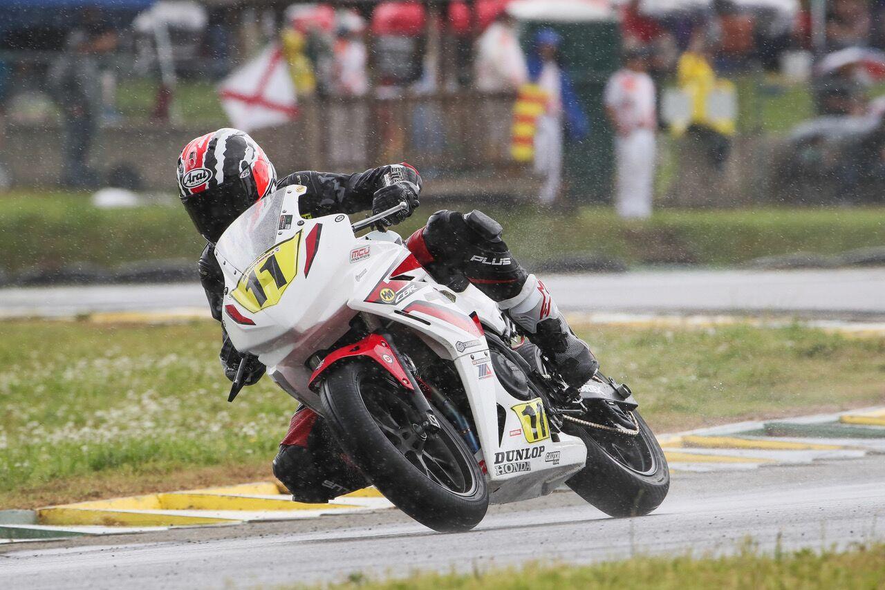 Cameron Jones splish-splashed his way to victory in the Liqui Moly Junior Cup on his Honda - VIRginia International Raceway