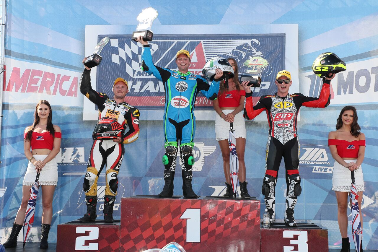 Twins Cup winner Chris Parrish (center) is flanked by Curtis Murray (left) and Draik Beauchamp (right) on the podium - VIRginia International Raceway