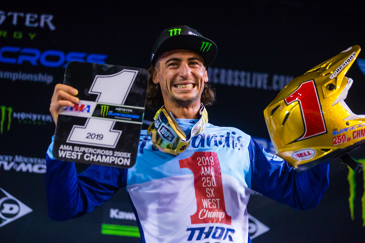 Dylan Ferrandis, 250 West champion, 2019 Monster Energy AMA Supercross, an FIM World Championship. (Credit- Jeff Kardas)