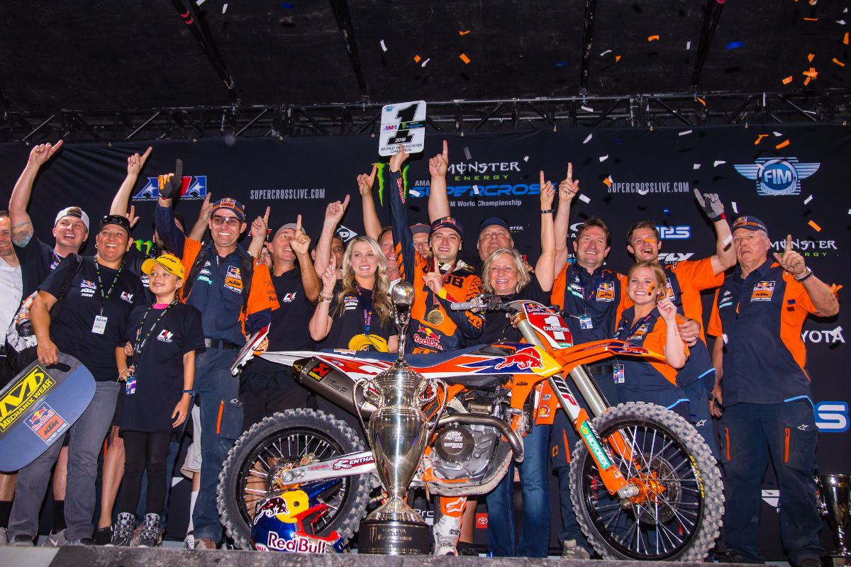 Webb's first 450SX title is the fourth for Red Bull KTM in the last five seasons. Photo Courtesy Jeff Kardas