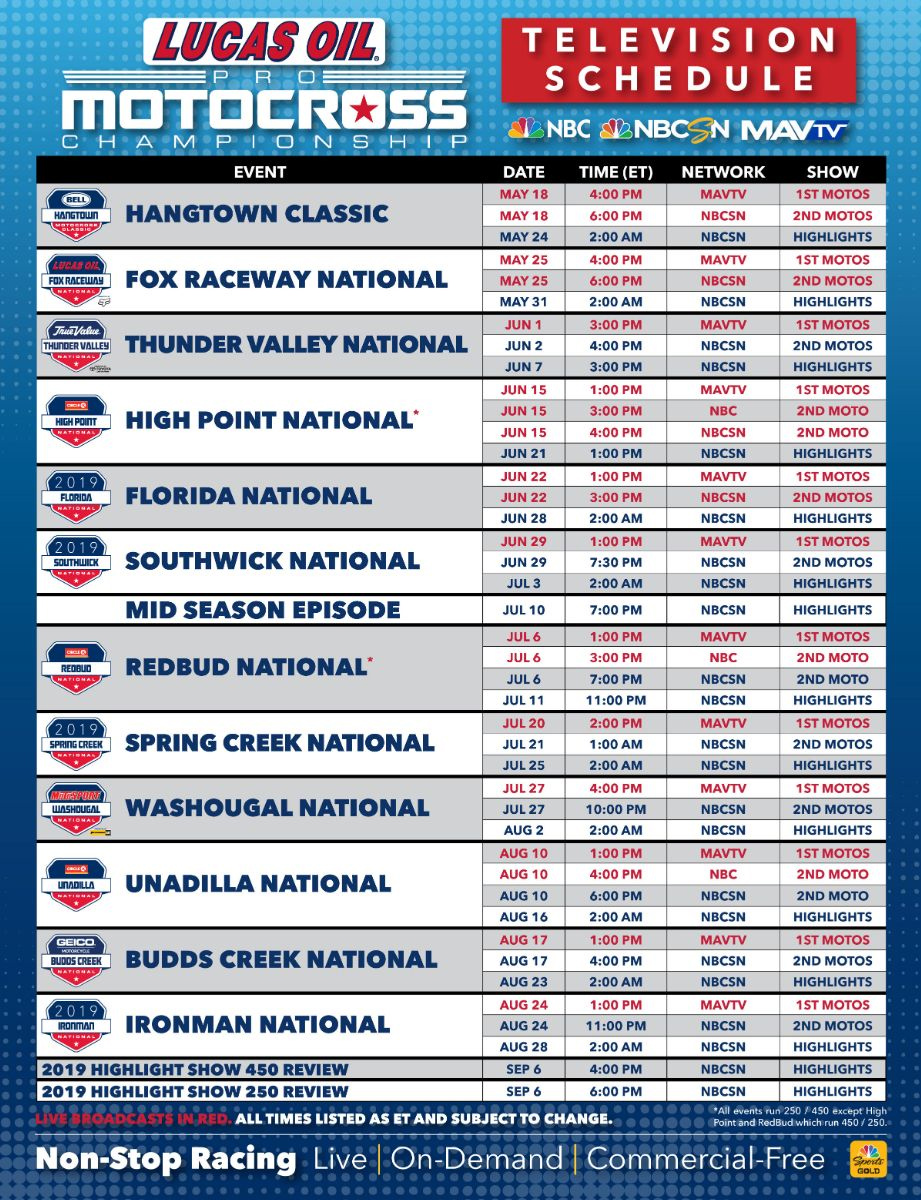 Full broadcast schedule is available at www.ProMotocross.com
