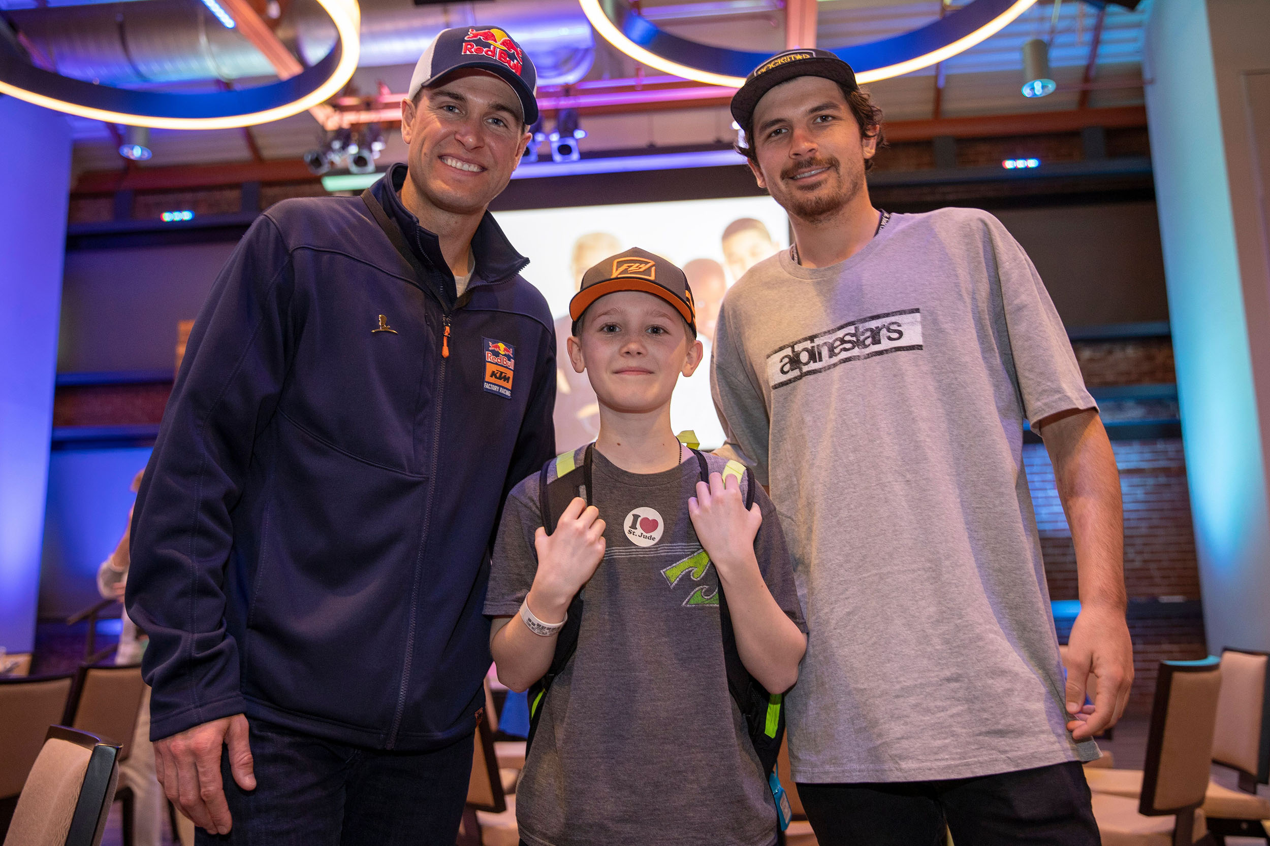 Ryan Dungey and Jason Anderson attending the patient and family reception at St. Jude Children's Research Hospital in Memphis