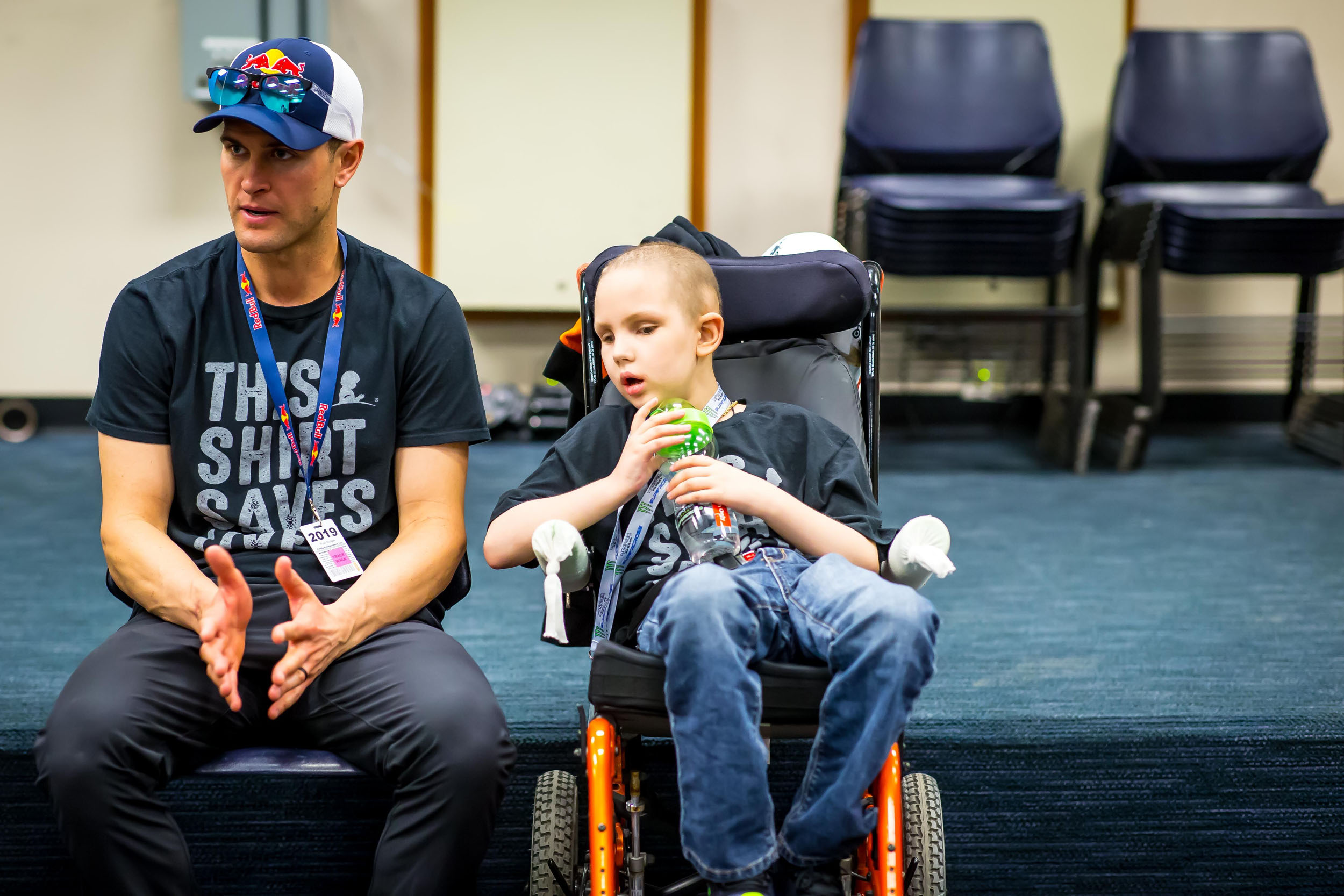 Ryan Dungey speaking to media at Nissan Stadium in Nashville with St. Jude patient and super fan Gabe