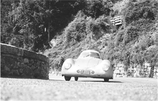 1939 Porsche Type 64 Berlin-Rome No. 3 - Otto Mathé behind the wheel at the International Austrian Alpine road race June 24-25 1950. Photos from the Otto Mathé Collection Courtesy of the owner