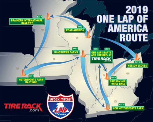 2019 Tire Rack One Lap of America Route Map