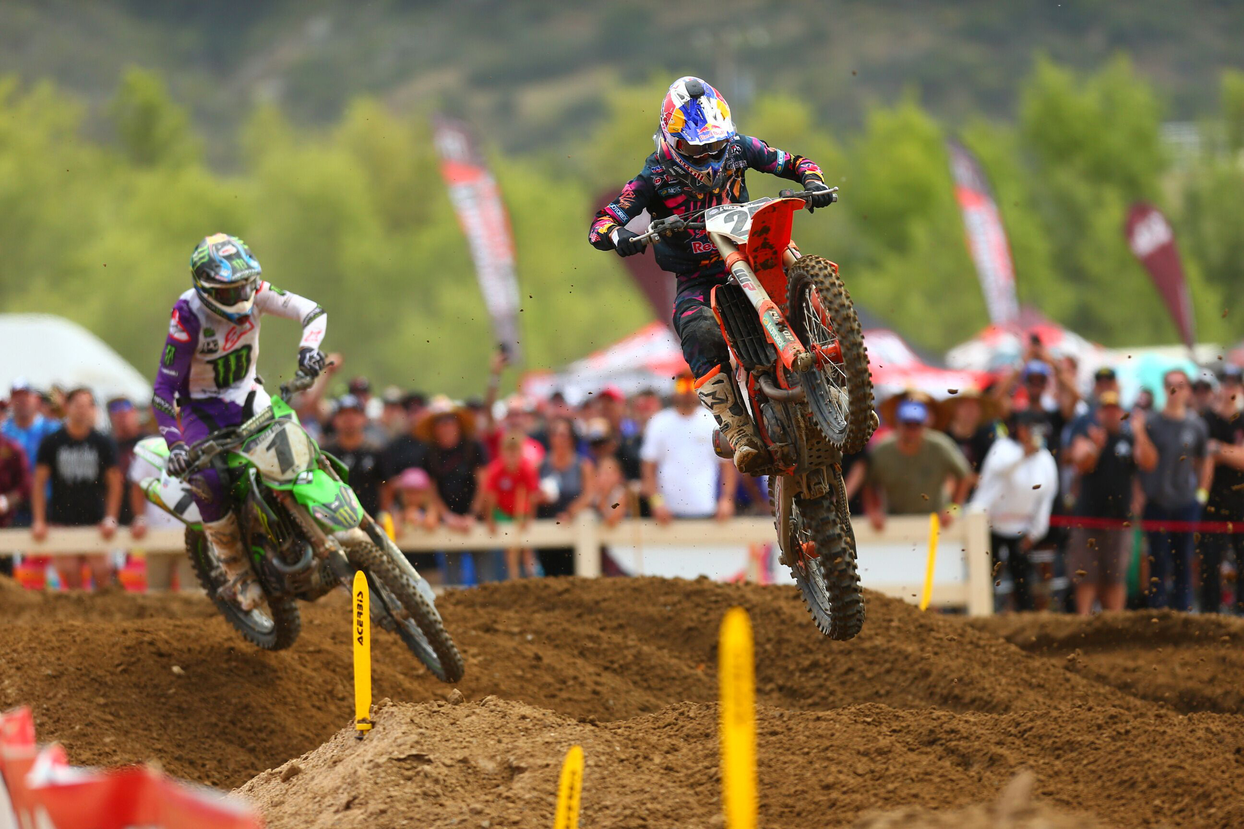 Musquin (front) was in the mix for victory in both motos. Photo- Jeff Kardas - Lucas Oil Fox Raceway National