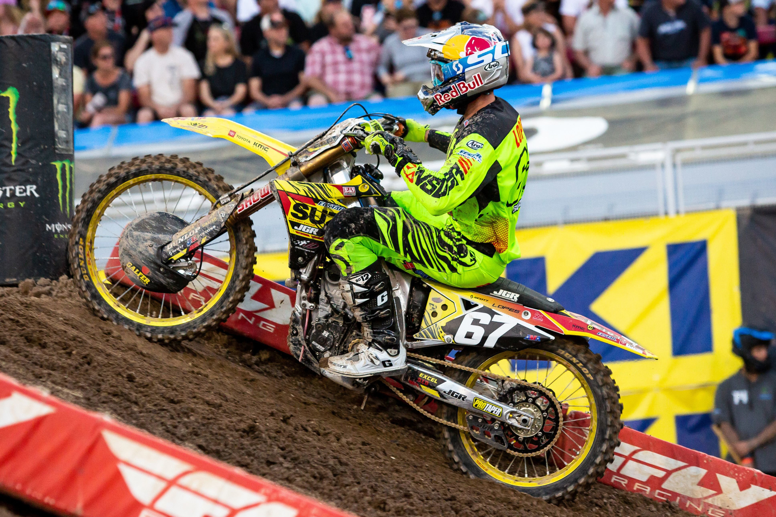 Enzo Lopes (#67) qualified well on his RM-Z250 - Las Vegas - Monster Energy Supercross