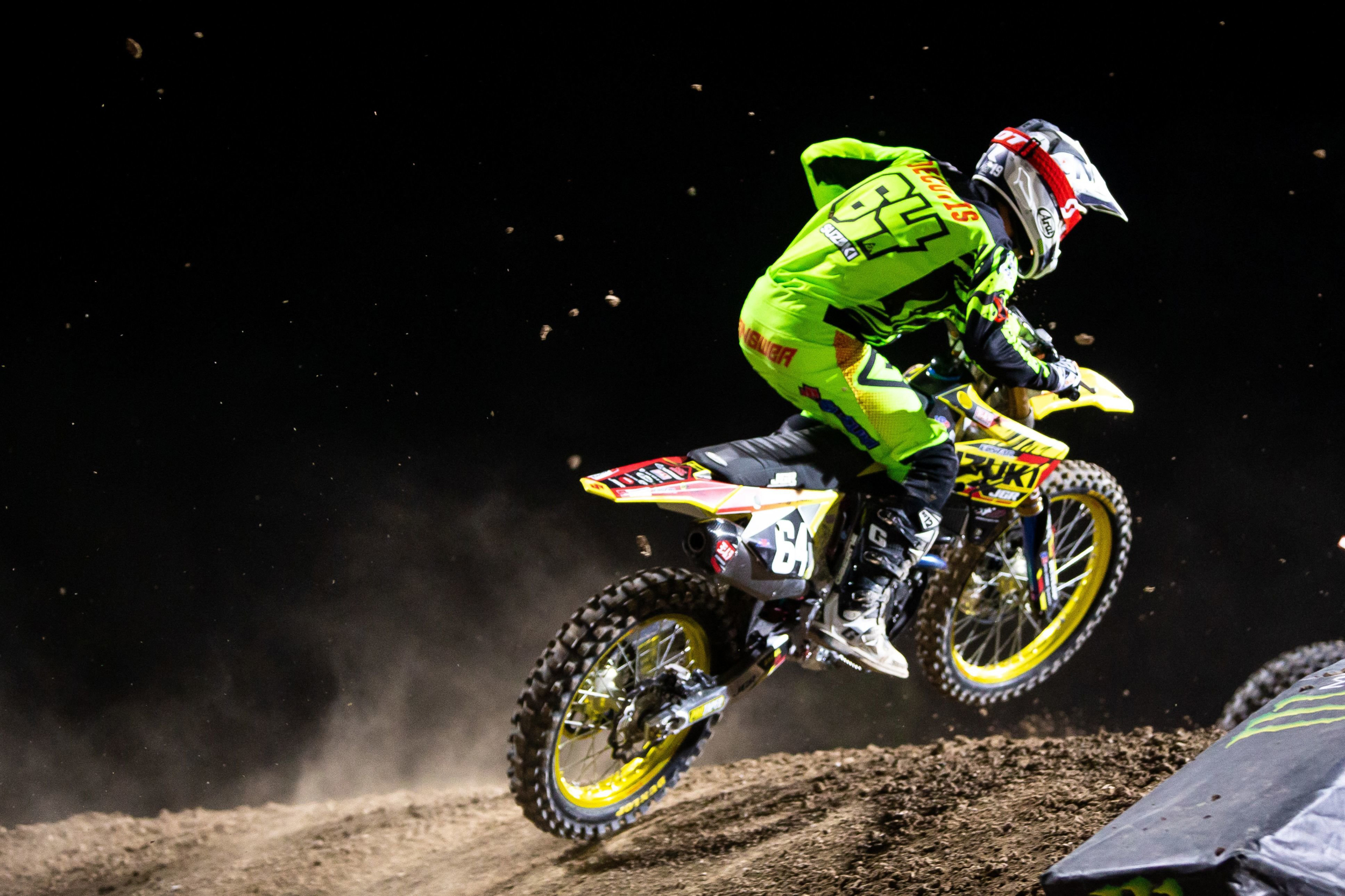 Jimmy Decotis (#64) tackled the Vegas track for his final race of the series - Las Vegas - Monster Energy Supercross