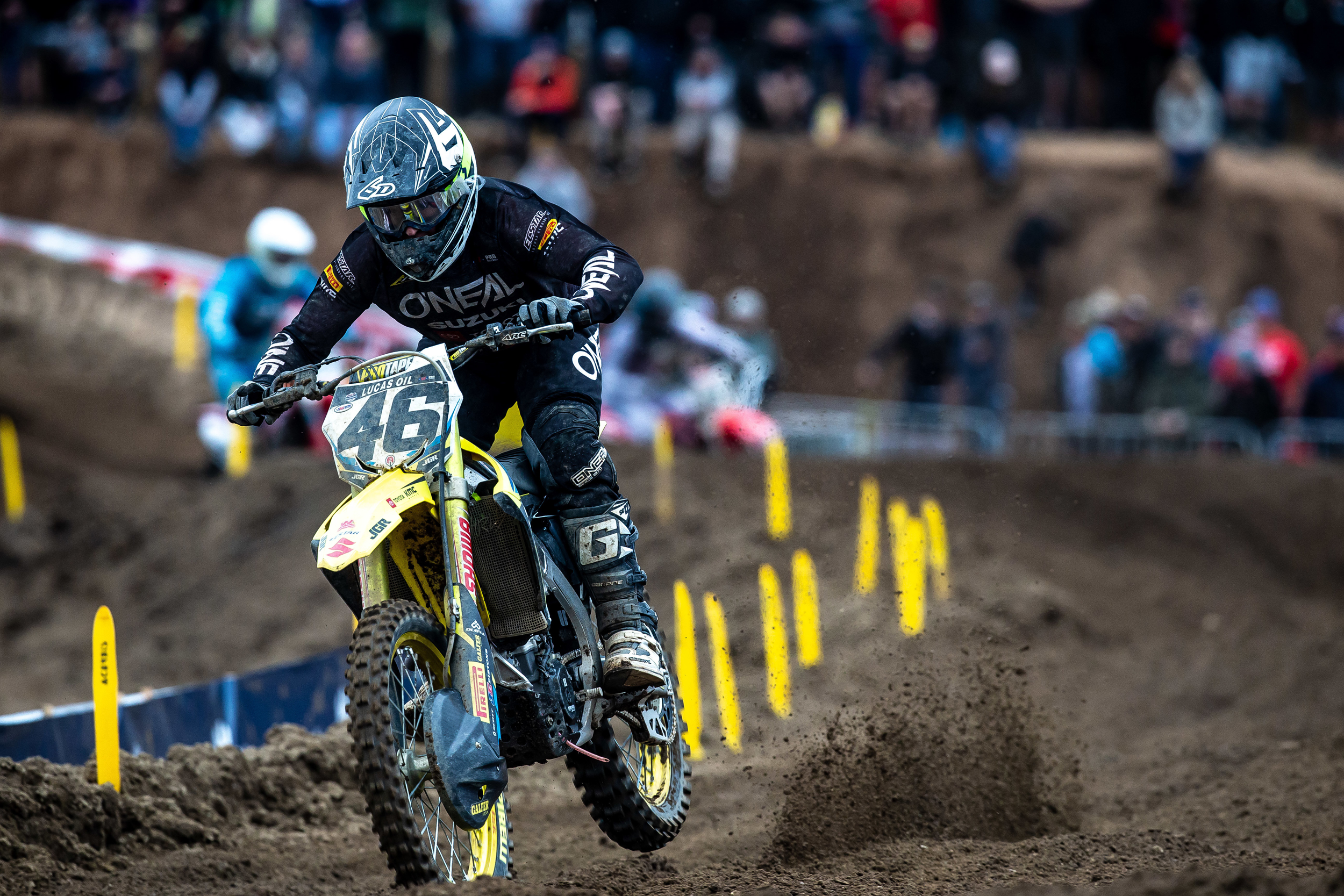 Justin Hill (#46) battled the muddy conditions at Hangtown