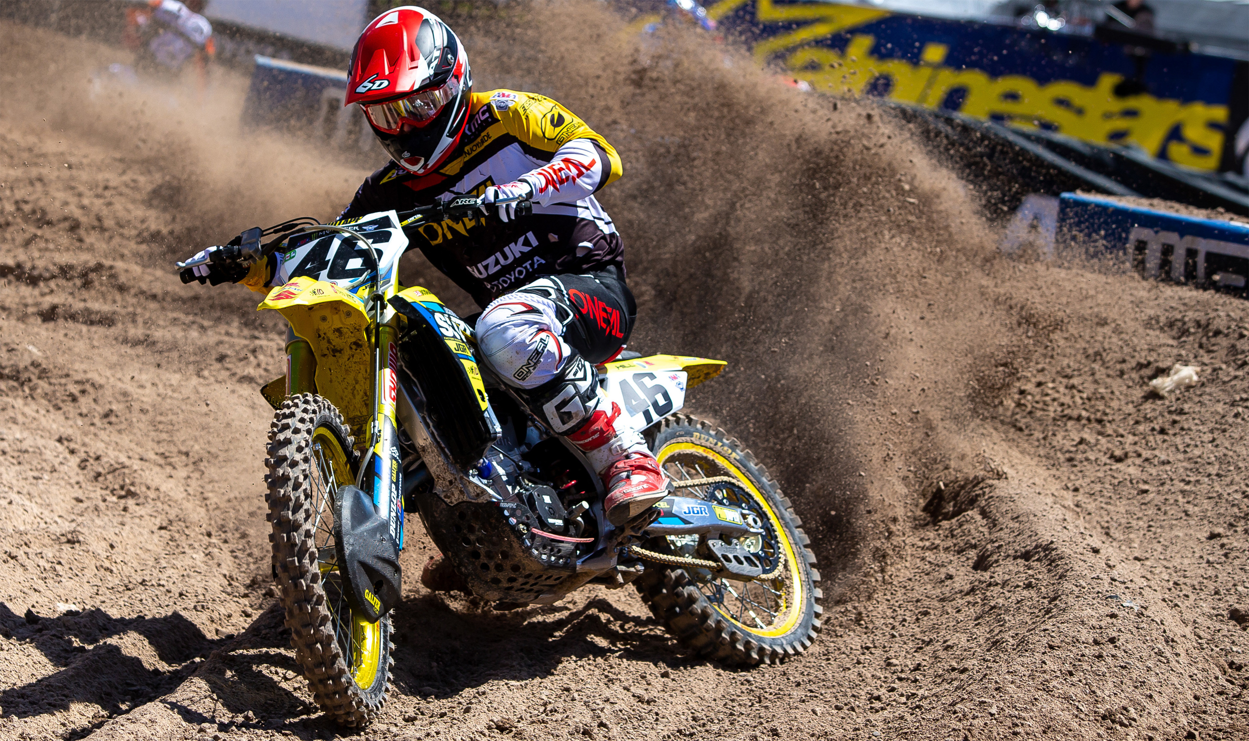 Justin Hill (#46) fought hard at Sam Boyd Stadium to finish out his 450 rookie season - Las Vegas - Monster Energy Supercross