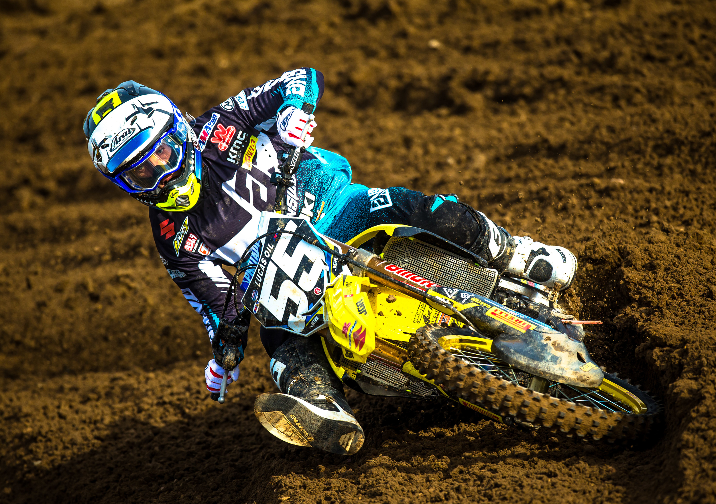 Kyle Peters (#55) fought-hard through the rutted track - Hangtown