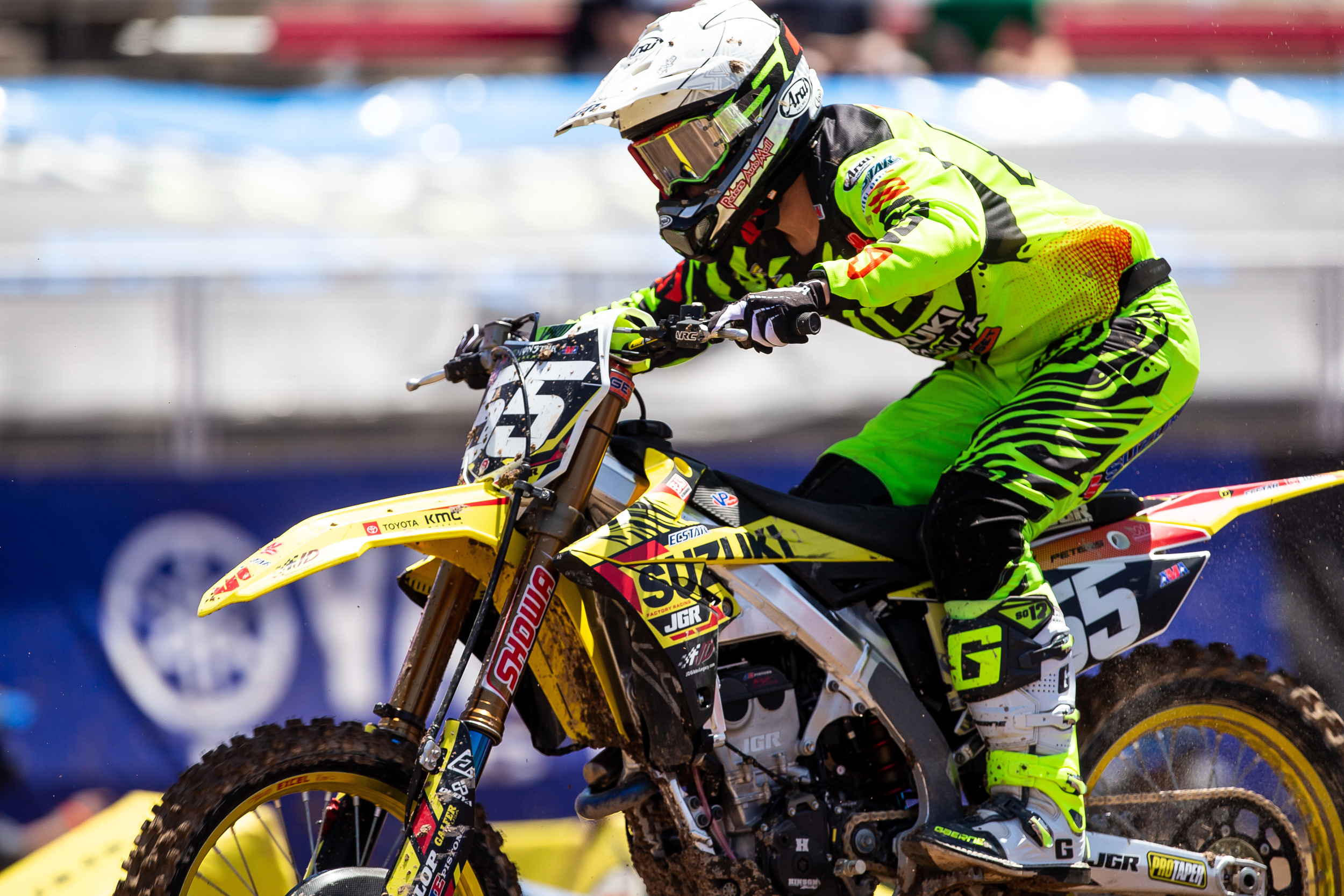 Kyle Peters (#55) showed determination on his RM-Z250 throughout the Supercross series - Las Vegas - Monster Energy Supercross