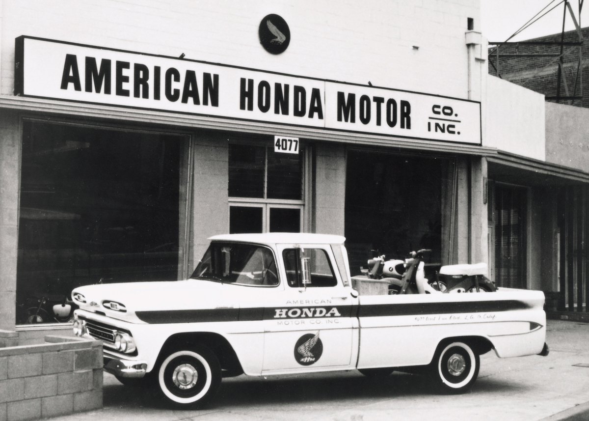 Original Chevy Delivery Truck in Front of First American Honda Office