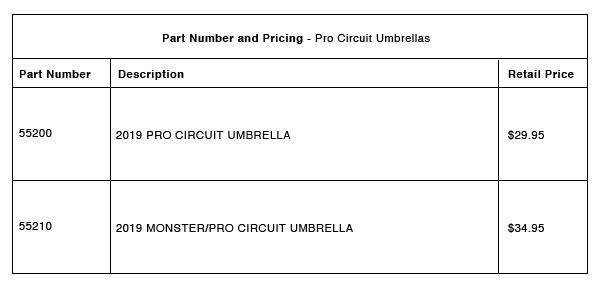 Pro Circuit Umbrellas - Part-Number-Pricing-R-2-B