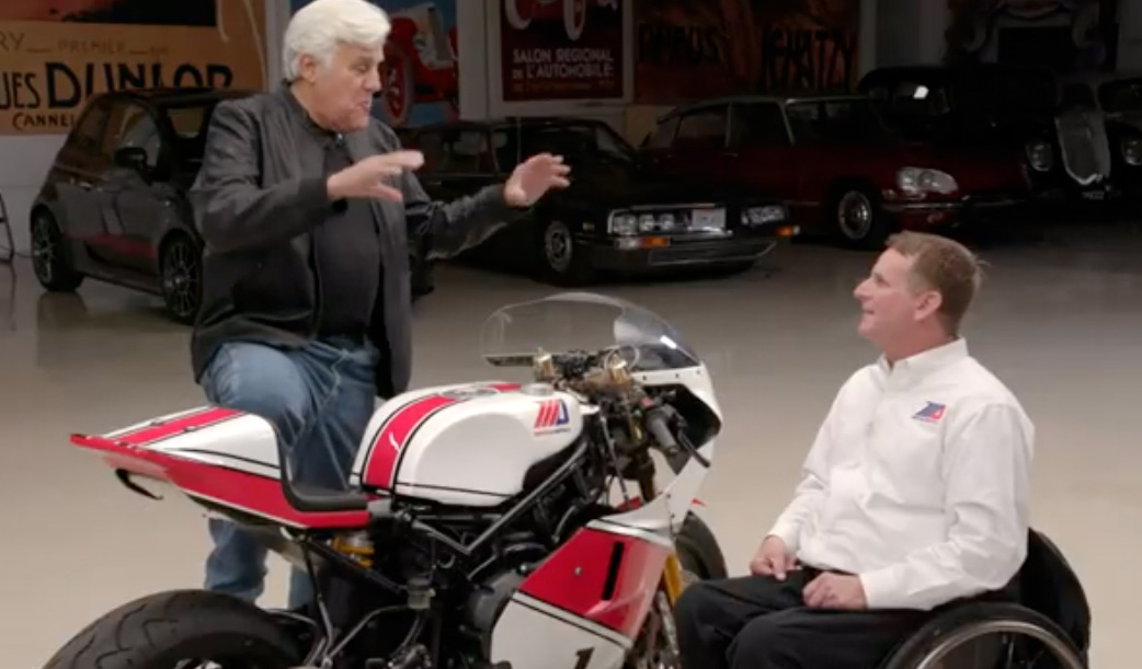 Legendary comedian Jay Leno talks motorcycles and MotoAmerica with Wayne Rainey at Leno's Garage in Burbank CA