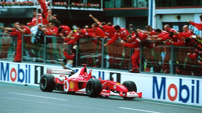 Michael Schumacher drives F2002 chassis 219 to victory at the 2002 French GP securing his fifth F1 World Drivers Championship (Credit – © Sutton Motorsport Images)