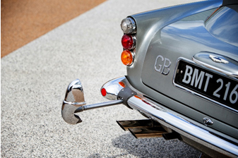 One of the hydraulic over-rider rams on the bumpers of the DB5 (Simon Clay © 2019 Courtesy of RM Sotheby's)
