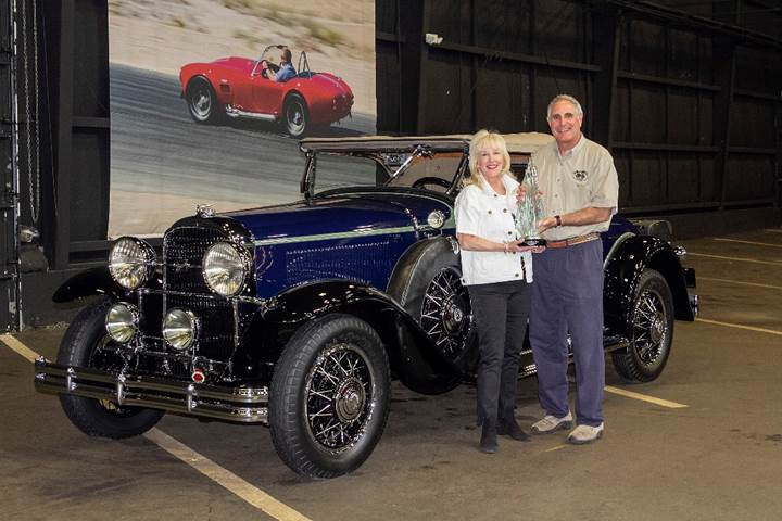 RM Auctions Auburn Spring Sale - David and Susan Landow with their 1931 Buick 8-94 Sport Roadster, winner of the AACA Annual Grand National Meet 2019 Zenith Award (© 2019 Courtesy of the AACA)
