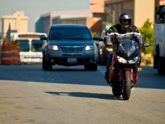 motorcyclist in traffic - Independence Day (Credit- Jeff Kardas)