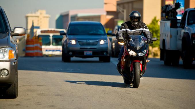motorcyclist in traffic - Independence Day (Credit- Jeff Kardas)