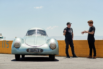 Jeff Zwart and Patrick Long discuss the 1939 Porsche Type 64 (Jack Schroeder © 2019 Courtesy of RM Sotheby's)