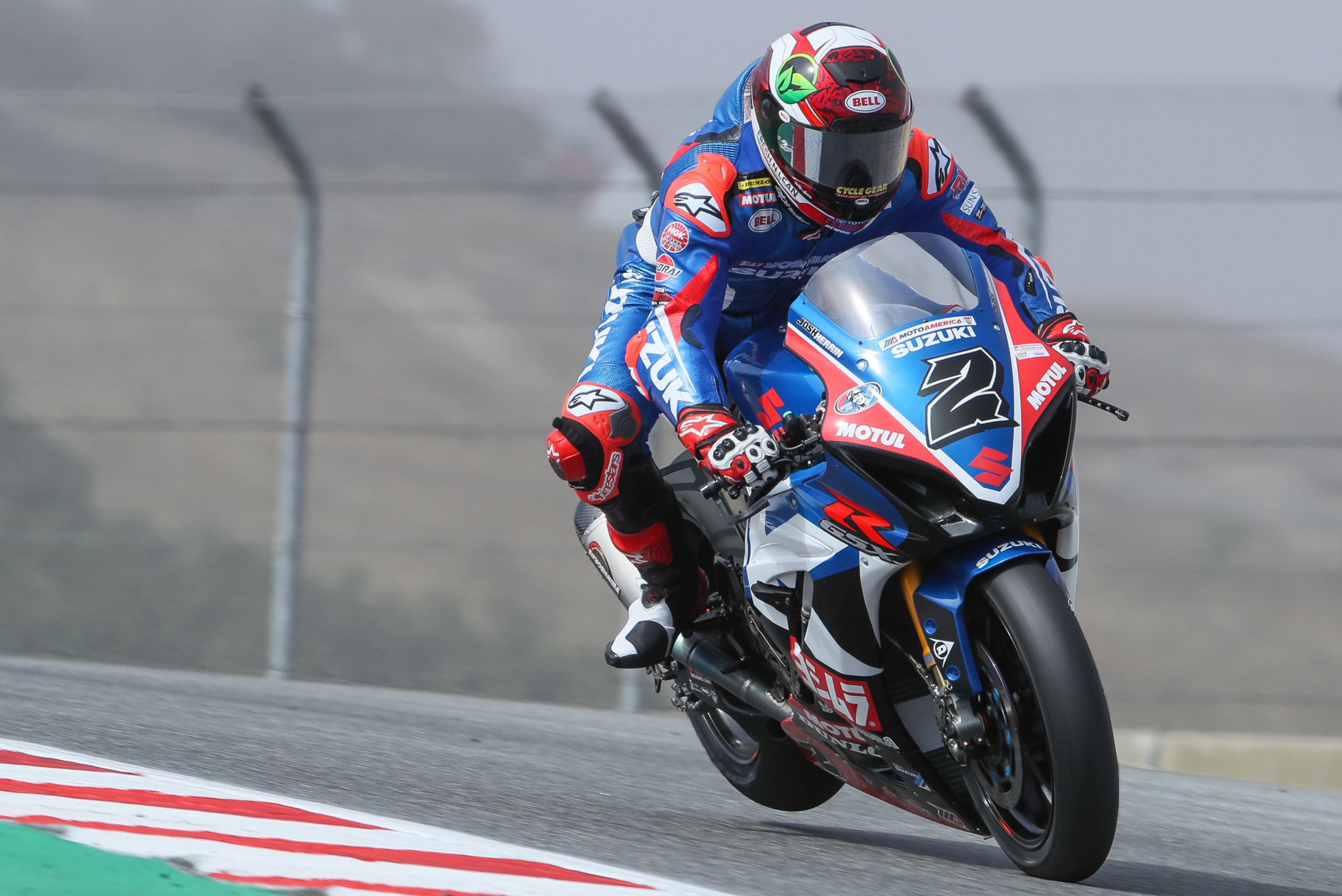 Josh Herrin (#2) battled near the front during race two on his Suzuki GSX-R1000