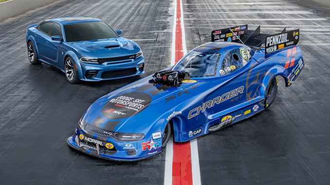 Matt Hagan's 11,000-horsepower 2020 Dodge Charger SRT Hellcat Widebody Funny Car and the 707-horsepower production model Charger SRT Hellcat Widebody, the most powerful and fastest mass-produced sedan in the world, photographed at Bandimere Speedway near Denver.