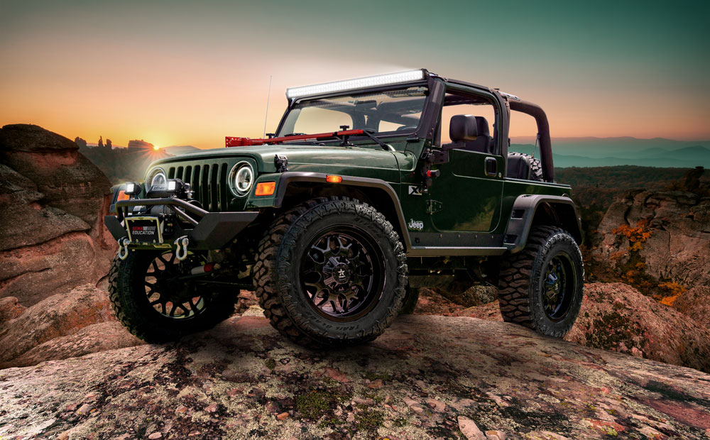 2004 Jeep Wrangler customized by R.L. Turner High School (photo credit- Collins Bros Jeep and Made Brand Studio)