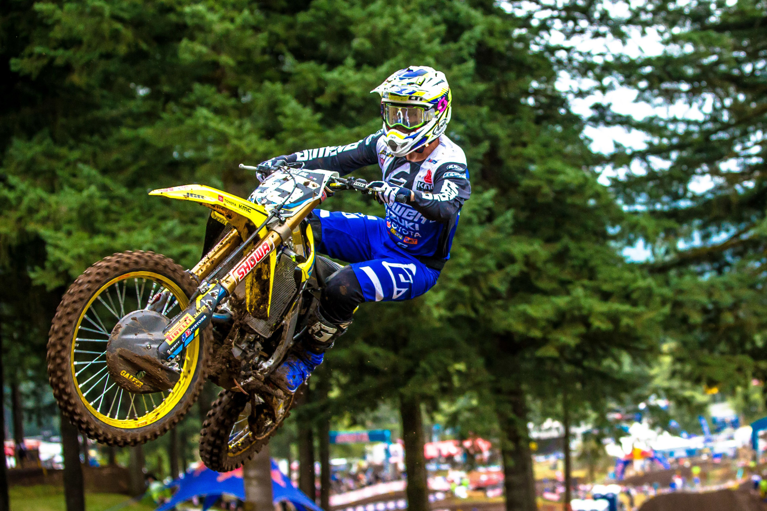 Kyle Peters (#55) soars through the checkered flag on his RM-Z250 - Washougal National