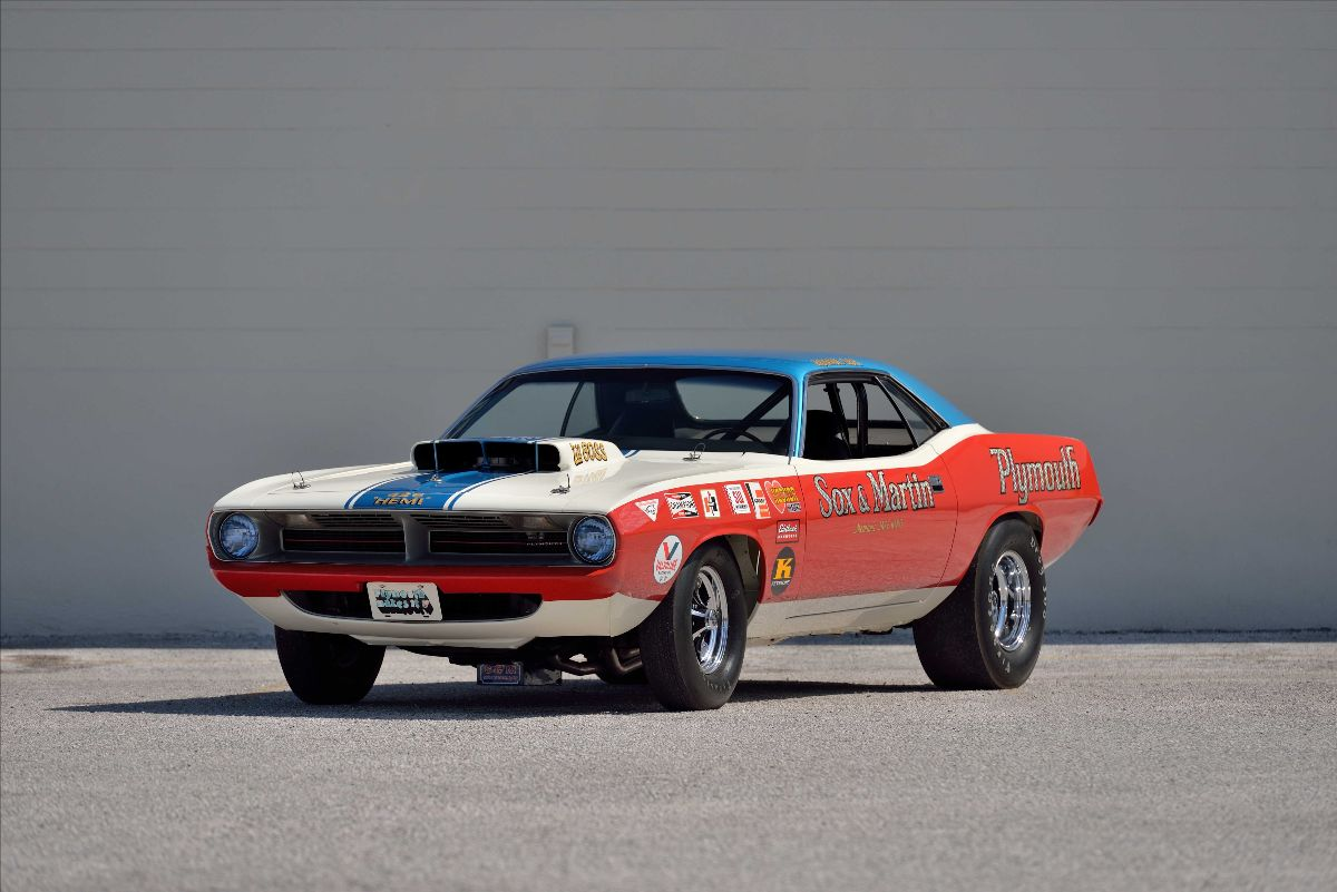 Mecum Harrisburg - 1970 Plymouth Hemi Cuda Sox & Martin Drag Car 1970 AHRA GT1 World Championship Winner (Lot S102)