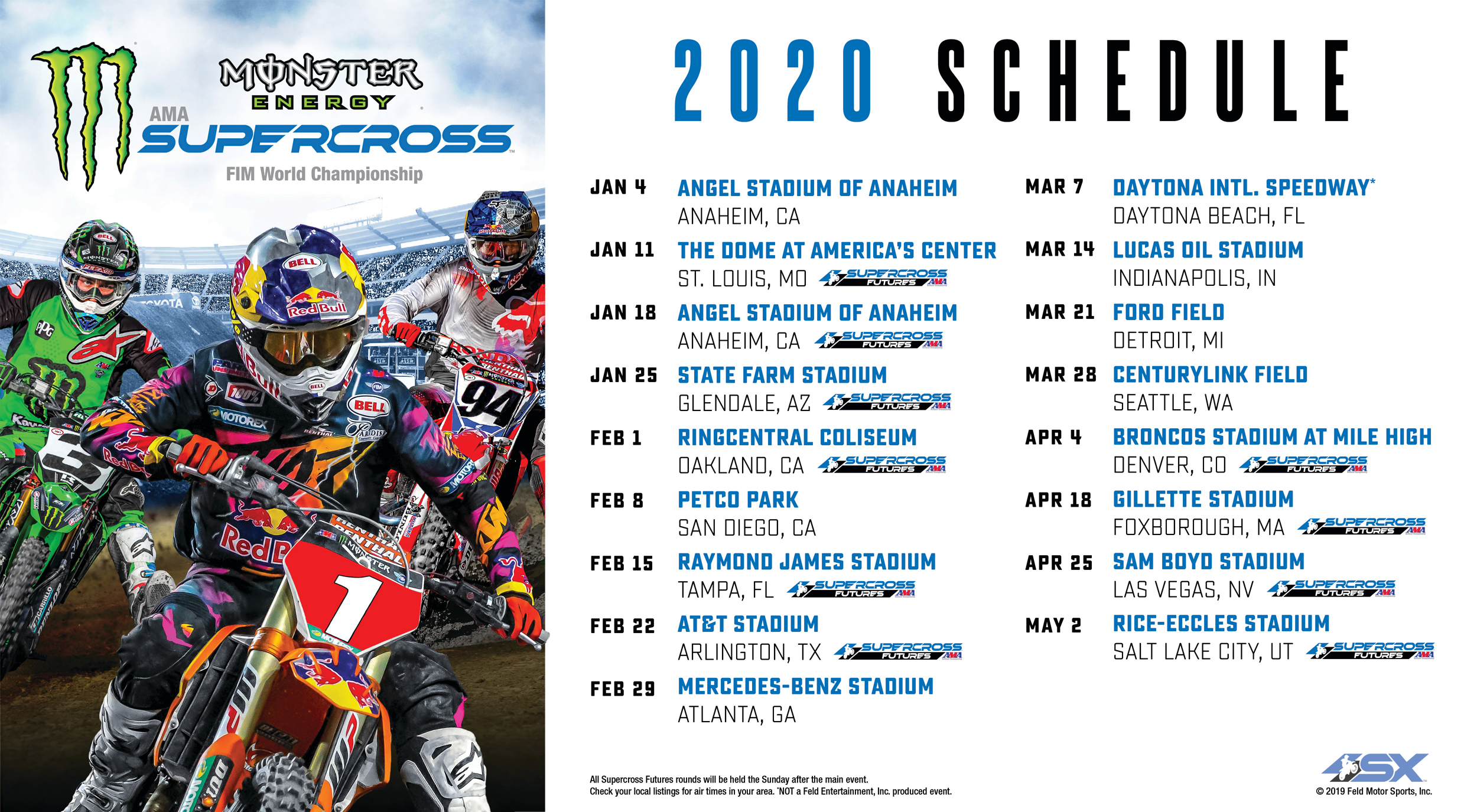 Monster Energy Supercross 2020 Race Schedule