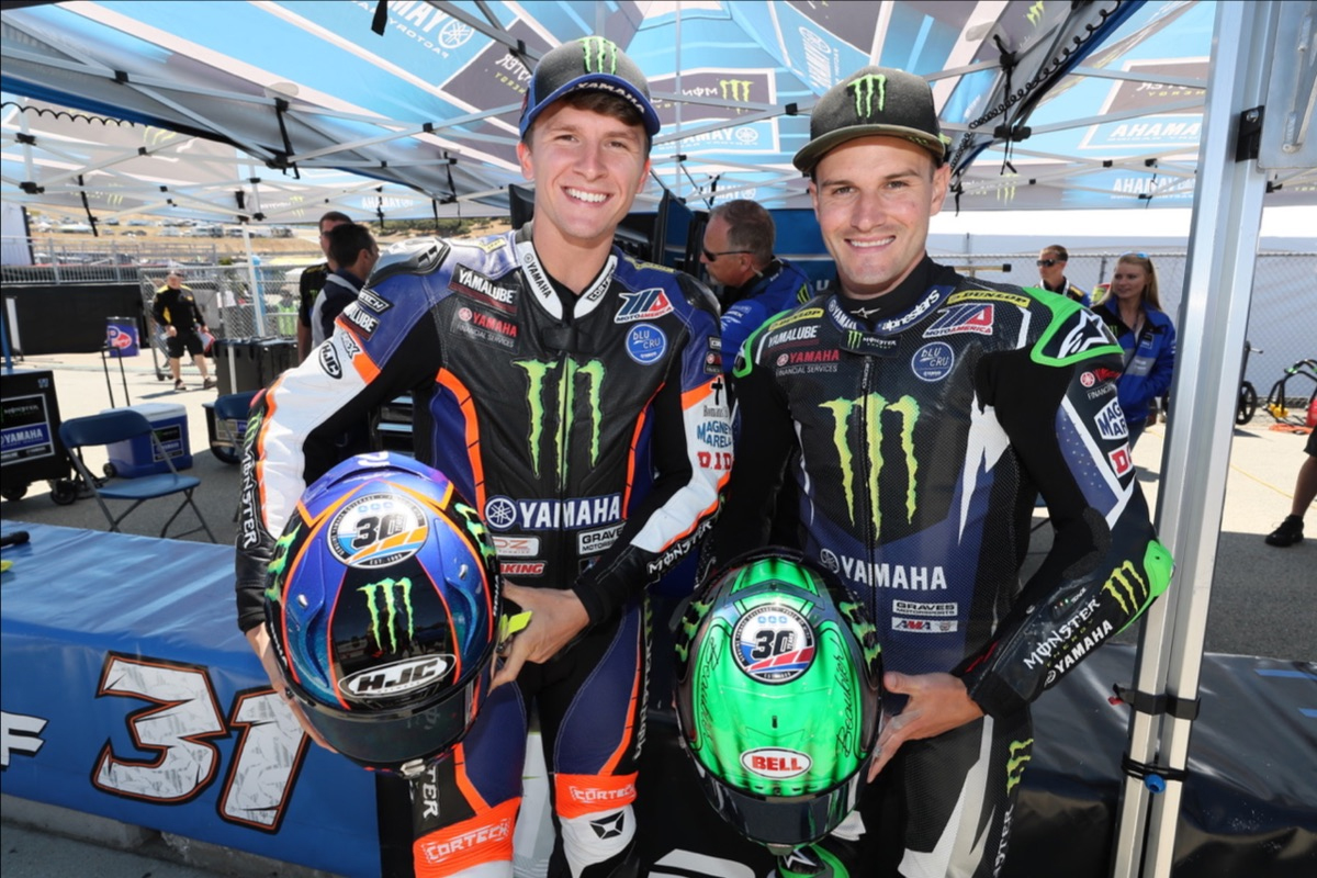 Monster Yamaha's Cameron Beaubier (right) and Garrett Gerloff (left) - Laguna Seca