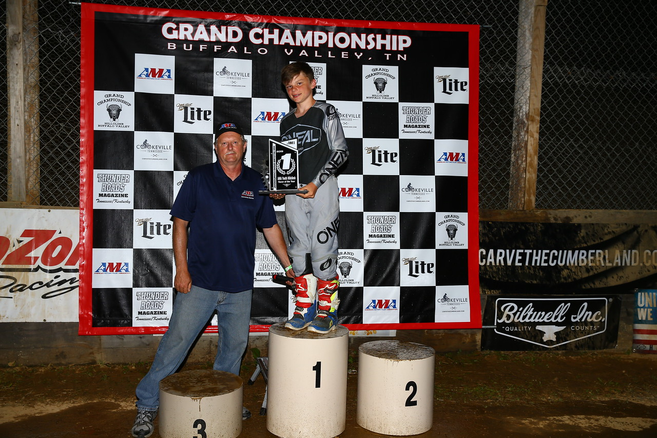 2019 AMA Youth Hillclimb Racer of the Year A.J. Engnes (right) receives his award from AMA Track Racing Commission Member Mike Bronk. (Credit: Joe Hansen)