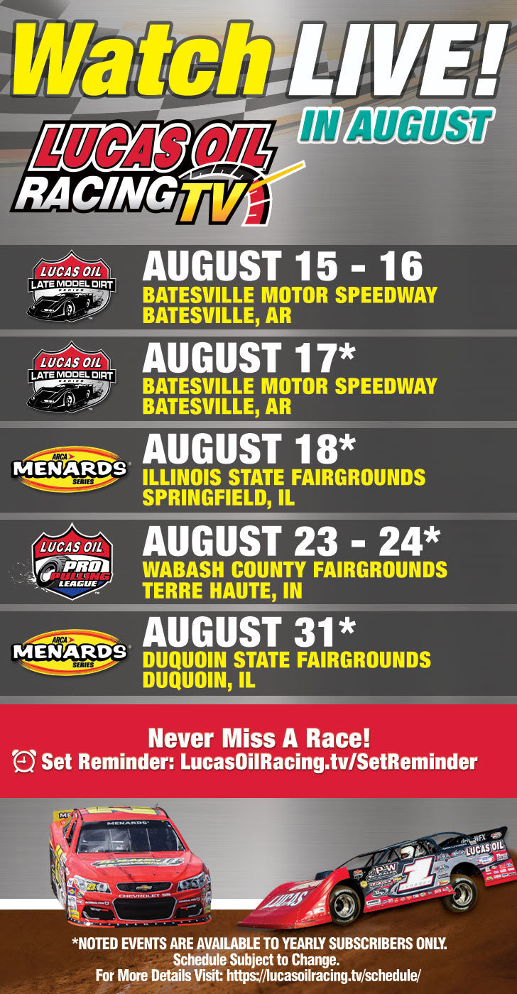 Lucas Oil Racing TV as August Broadcast Schedule