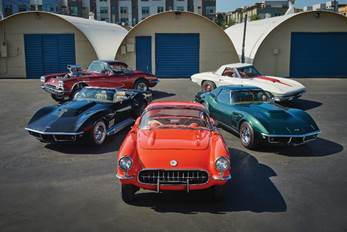 Overview of the five Corvettes offered from the Jim Mangione Collection at Auburn Fall (© 2019 Courtesy of RM Auctions)