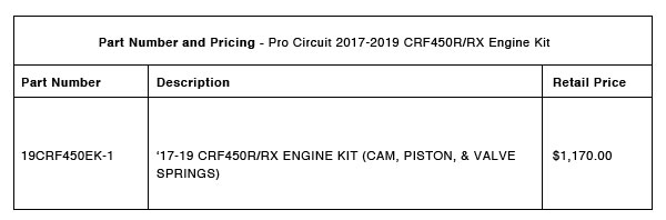 Pro Circuit 2017-2019 CRF450R:RX Performance Engine Package - Part-Number-Pricing-R-1