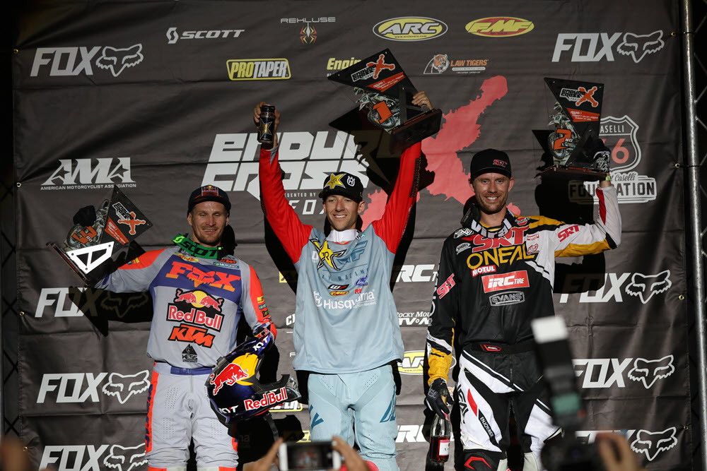 Colton Haaker (center), Cory Graffunder (right) and Taddy Blazusiak earned the top three spots - EnduroCross
