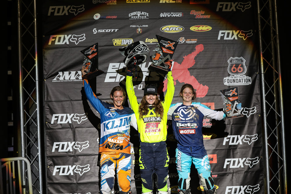 Shelby Turner (center), Maria Forsberg (left) and Rachel Gutish shared the Women's class posium - EnduroCross