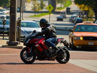 motorcyclist in traffic - Labor Day weekend (Credit- Jeff Kardas)