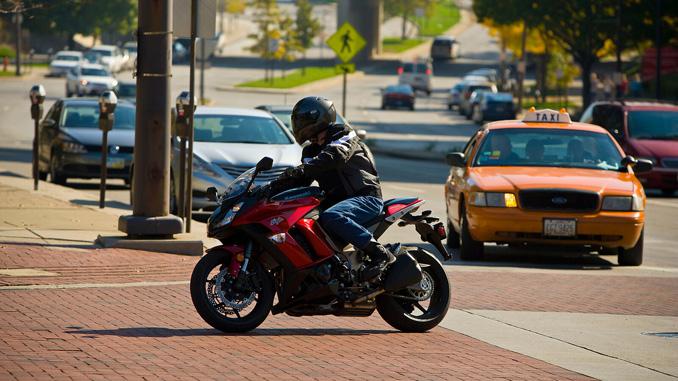 motorcyclist in traffic - Labor Day weekend (Credit- Jeff Kardas)