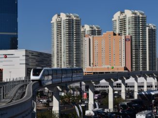 FLas Vegas Convention Center SEMA Show attendees for the Las Vegas Monorail