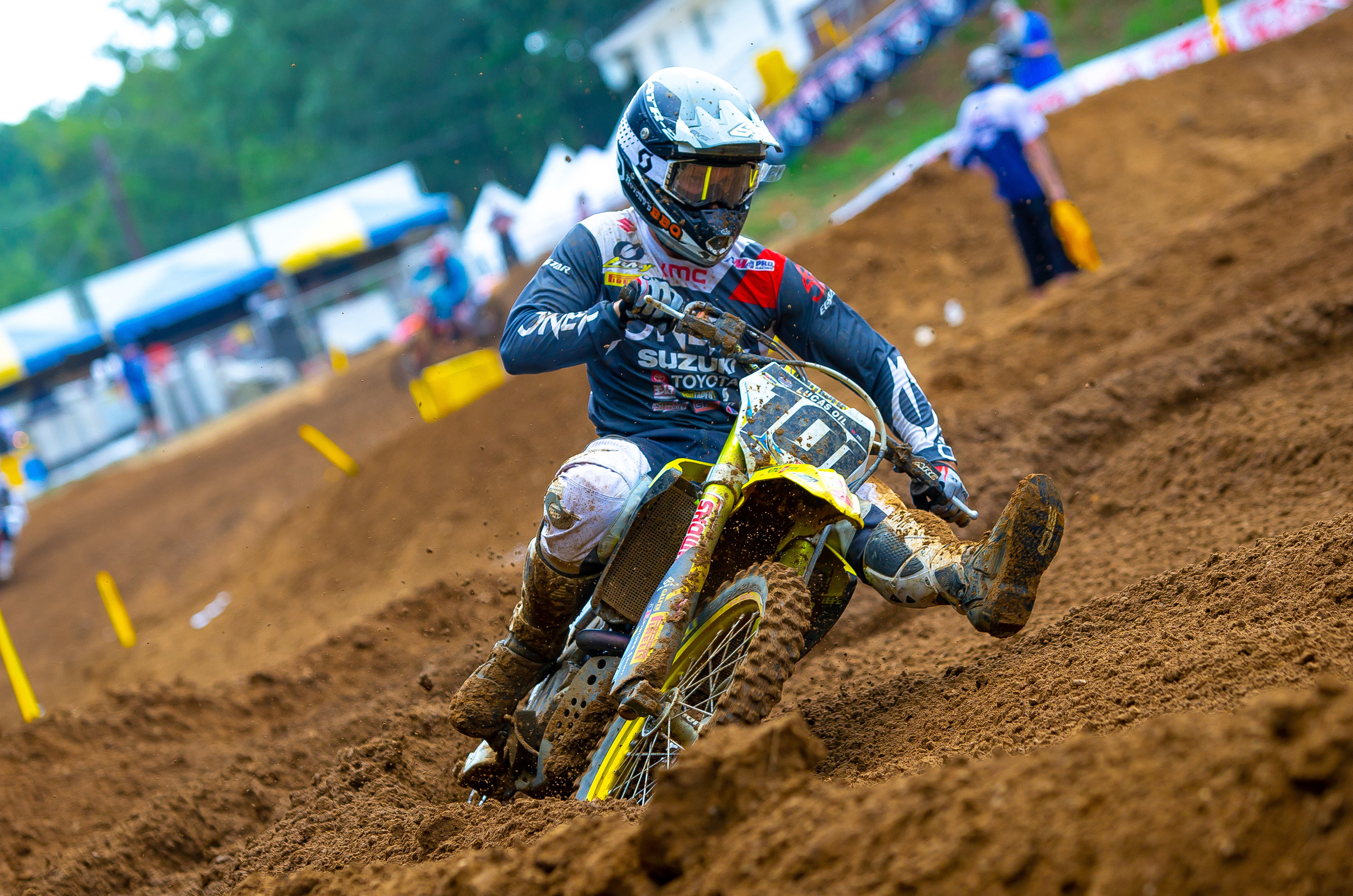 Fredrik Noren (#101) turns through the rutted track on his RM-Z450 and moves up in the overall points standings