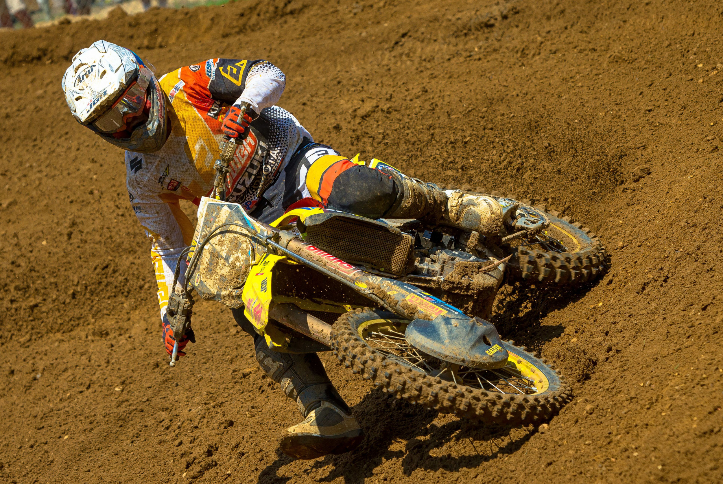 Kyle Peters (#55) pushed through the challenging conditions on his RM-Z250