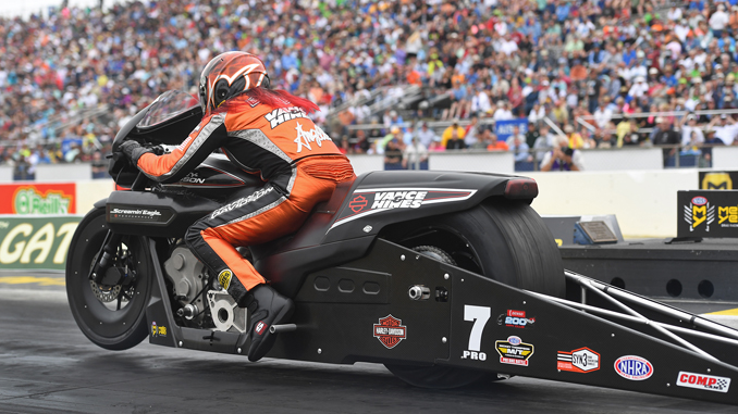 Pro Stock Motorcycle - Angelle Sampey - Chevrolet Performance U.S. Nationals action