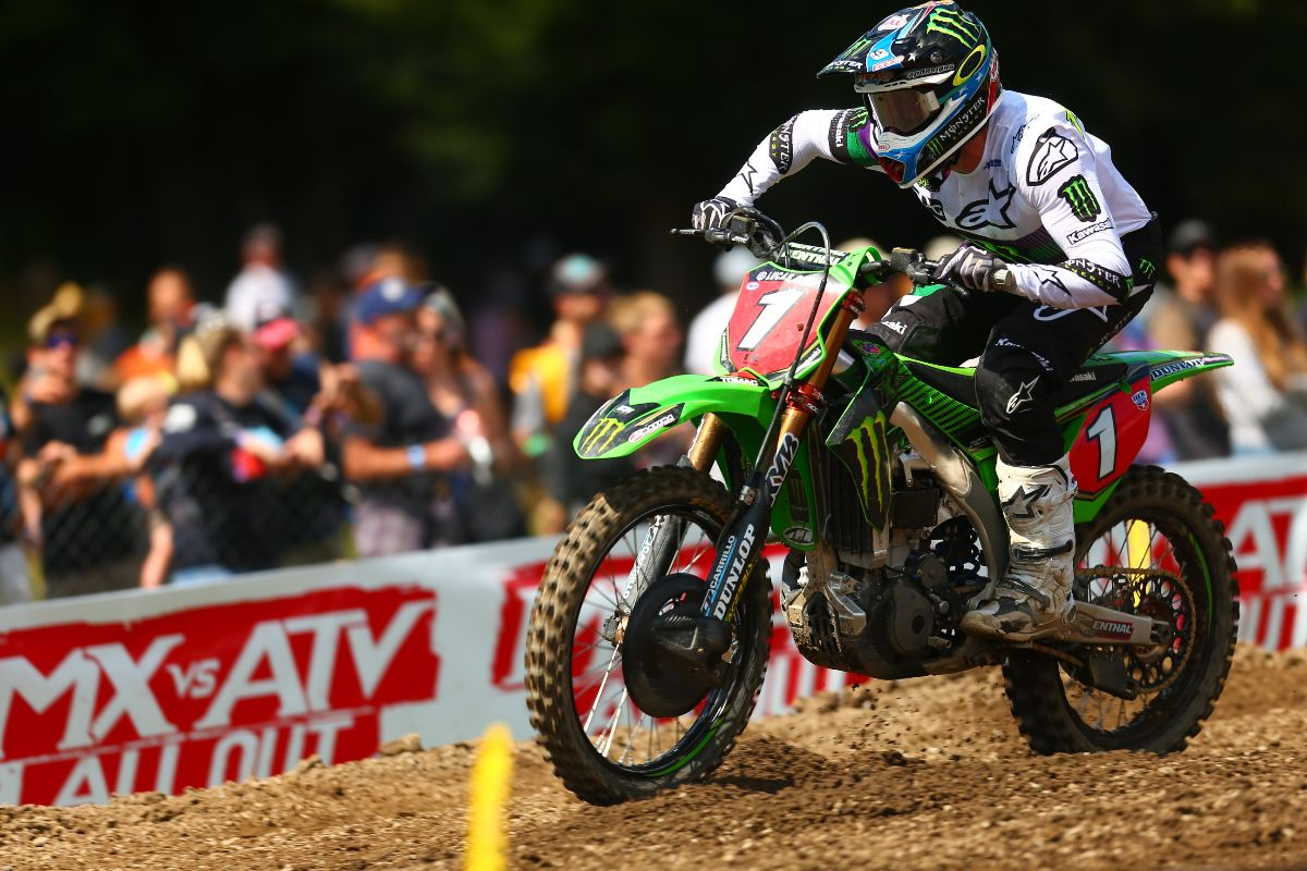 Tomac rebounded from a difficult first moto to finish fourth overall - Unadilla